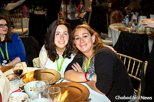 Rachel Druk, left, co-director of the Chabad Jewish Center of Cancun, Mexico, with community member Vardit Sefchovich (Photo: Chavi Konikov)