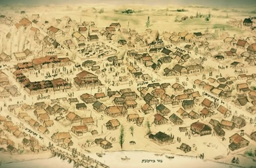 The city of Lubavitch, home to the Rebbes of Chabad from 1813 to 1915. The Rebbe's courtyard is depicted on the left.