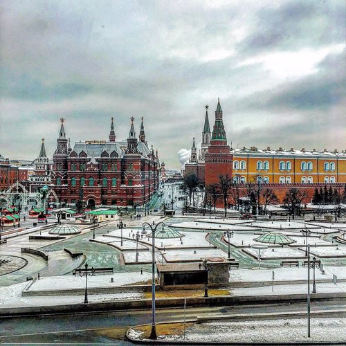 View from the Hotel National, where the Rebbe stayed during the October Revolution, across Manezhnaya Square. The Kremlin is on the right and the State Historical Museum is on the left.