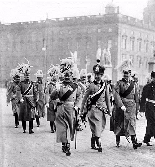 Kaiser Wilhelm II of Germany with his son, Crown Prince Wilhelm (in busby) beside him, parading in Berlin, January 1st, 1900.