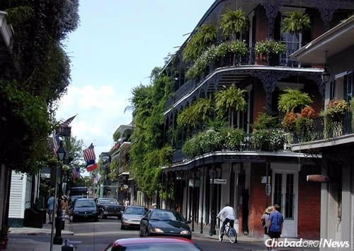 A section of the French Quarter. Rabbi Zelig and Bluma Rivkin opened a Chabad House in the city in 1976, just in time for Purim. (Photo: Wikimedia Commons)