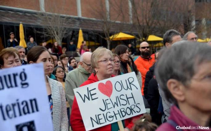 Hundreds of people from Blacksburg, Va., attended a solidarity rally at Virginia Tech to show their support for the Jewish community after an anti-Semitic incident on Shabbat at the campus Chabad center.