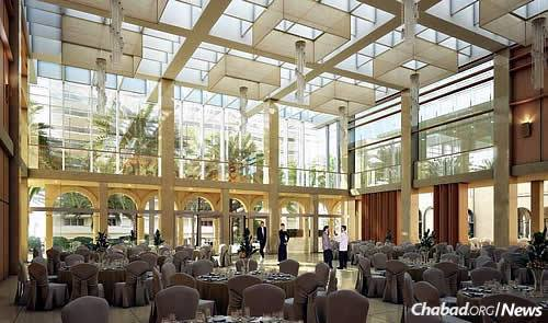 Artist's rendering of the new social hall, featuring a 40-foot glass cube space