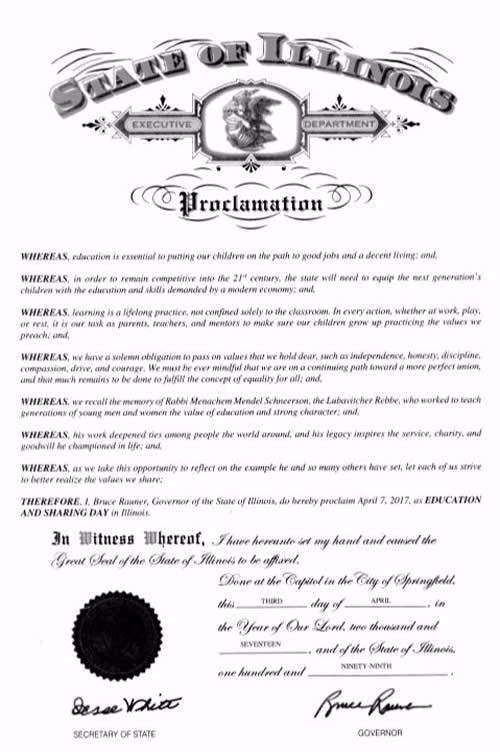 The proclamation signed by Gov. Bruce Rauner of Illinois