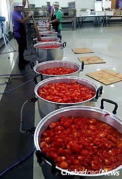 Vats of vegetables in Thailand, where seders will be held in Bangkok, Phuket, Chiang Mai and Koh Samui, attended by thousands of travelers, including many young Israeli backpackers.