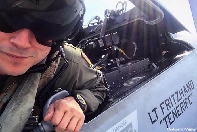 """Working closely with the Aleph Institute, Lt. Nicholas Fritzhand will lead a Passover seder aboard the """"U.S.S. Nimitz,"""" the oldest U.S. aircraft carrier in operation and one of the largest warships ever built. Fritzhand, 33, is a weapon-systems officer: """"the backseater"""" in fighter jets."""