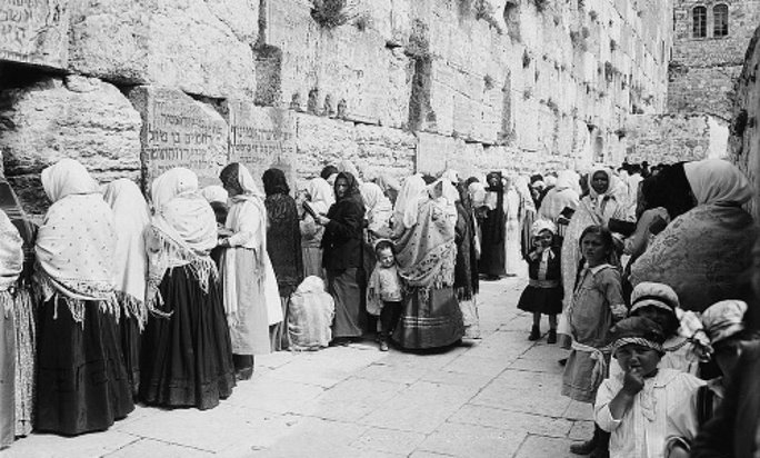 Women praying at the Kotel in Jerusalem in the late 19th century.