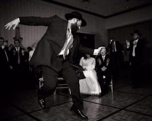 Rabbi Yitzi Hurwitz dancing at the wedding of Sam and Rebecca Lieberman (Photo: Zalmy Berkowitz).