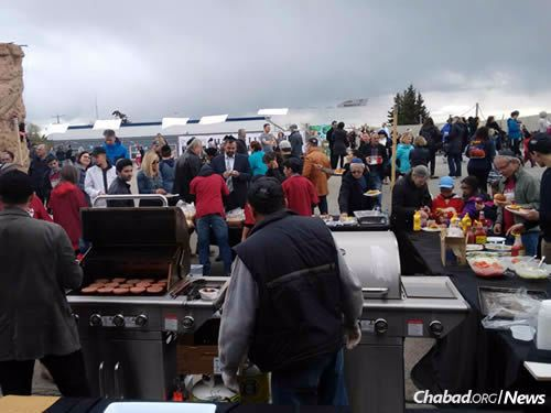A kosher barbecue dinner was available to all.