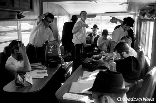 "Each truck had a driver and a ""commander,"" with 10 other yeshivah students assigned to ride in the back on a rotating basis, September 1975. (Photo: JEM/The Living Archive)"