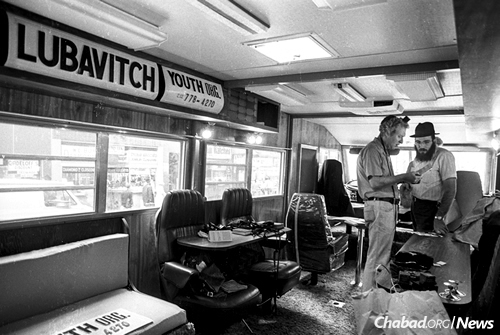 Inside the RV turned mitzvah mobile (Photo: JEM/The Living Archive)
