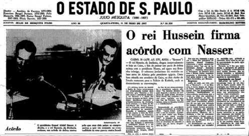 Jornal O Estado de S. Paulo, 31 de maio de 1967. Reprodução