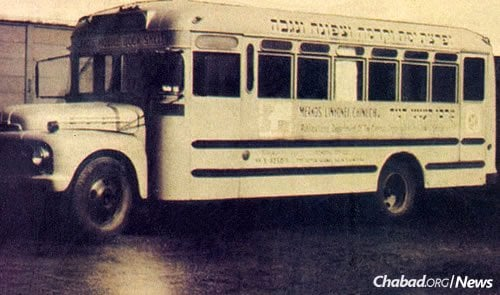 "A bus like no other: Officially dubbed the ""Merkos Mobile Library,"" it caught the eye of ""The New York Times."" A November 1963 headline announced a ""Mobile Library Being Used By Hasidic Jewish Group."" (Photo: Rabbi Michoel Seligson Archive)"