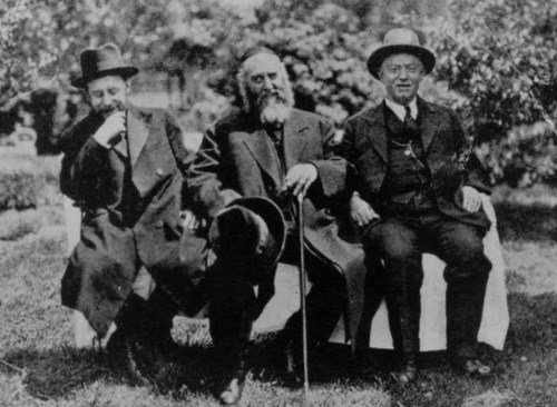 Right to left: Mr. Nathan Harris, Chairman of the Reception Committee; the Sixth Lubavitcher Rebbe, Rabbi Yosef Yitzchok Schneersohn; Rabbi Shmaryahu Gurary, the rebbe's son-in-law. This photo was taken during the rebbe's visit to St. Louis in 1930.