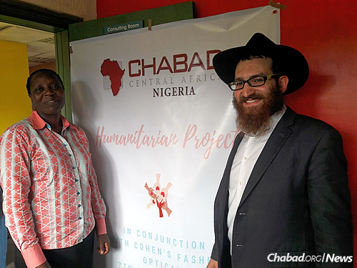 Mendy Sternbach with Agnes Olaor, the director of a local orphanage where children got their eyes tested. (Photo: Chabad of Nigeria)