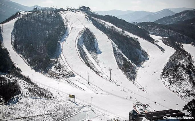 Chabad in Korea, directed by Rabbi Osher and Mussy Litzman, will open two temporary centers strategically located in PyeongChang, near the ski slopes pictured above, and collectively host Shabbat meals for thousands of guests over the course of three Friday nights of the 2018 Winter Olympics. They are also equipped to prepare some 8,000 pre-packaged kosher meals for people on the go. (Photo: IOC)