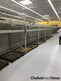 Many stores in Florida have already been stripped bare of basic supplies. (Photo: Chavi Konikov/Chabad.org)