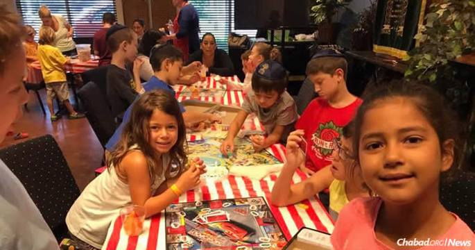 In Bellaire, Texas, where many homes were devastated and all were impacted by floods from Hurricane Harvey, children were given a much-needed break, while their parents dealt with storm logistics, at a pop-up school at The Shul of Bellaire.