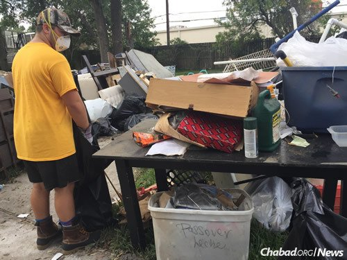 Volunteers worked in sweltering conditions for much of the day.