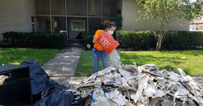 Leah Sherman, a bioengineering major at Rice University in Houston, has been volunteering all week in cleanup efforts with a group from Chabad on Campus.