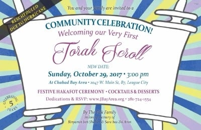 Torah Welcoming Celebration - w new date