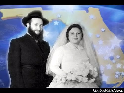 A wedding photo of the couple reprinted on the anniversary of their 50th year of shlichus