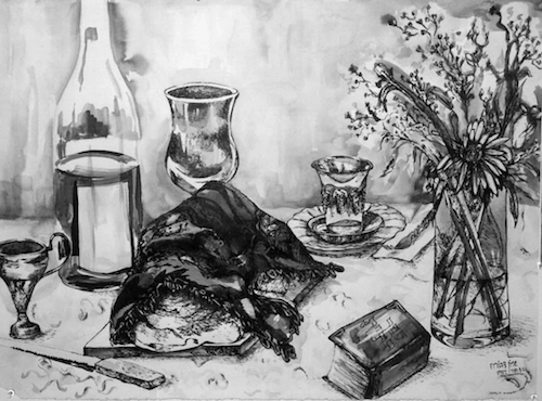 Artwork displaying a Shabbat meal, by Sharone Goodman