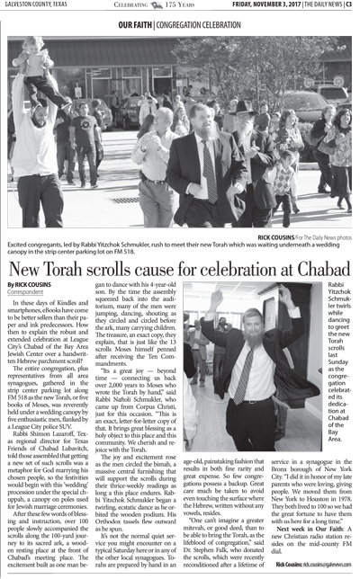 Galveston Daily News - Torah Welcoming Celebration