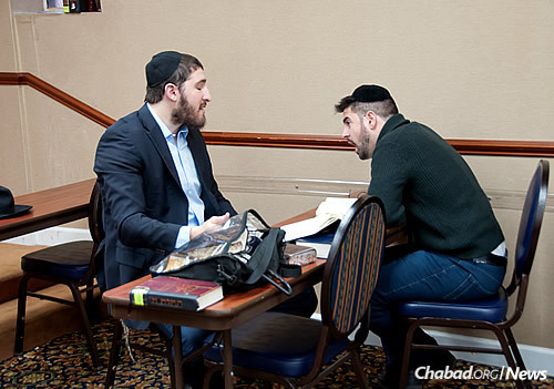 Early-morning Torah study at Congregation Bnei Ruven
