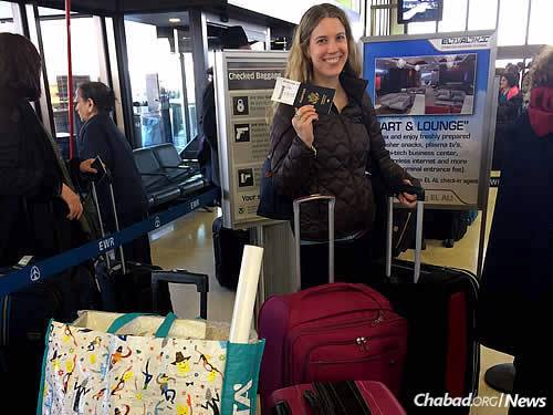 Sarah at the airport in January, on the way to making aliyah.