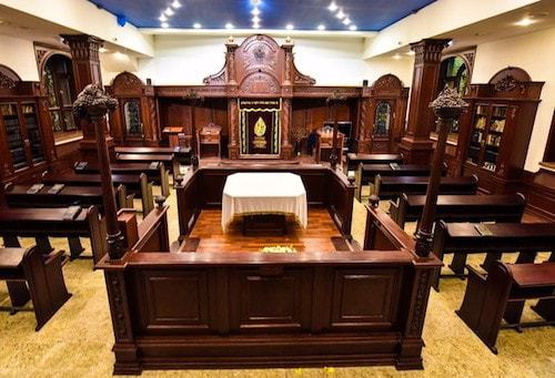 The bimah, used for the reading of the Torah.
