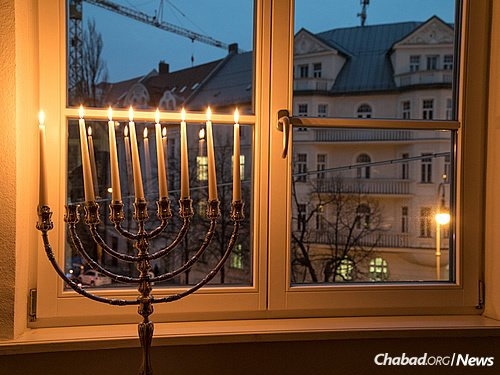 Chabad moved in across the way from Hitler's penthouse apartment in 1993. In the years since, it has become a magnet for both Jewish residents and tourists visiting Munich. (Photo: Mitya Kolomiyets)