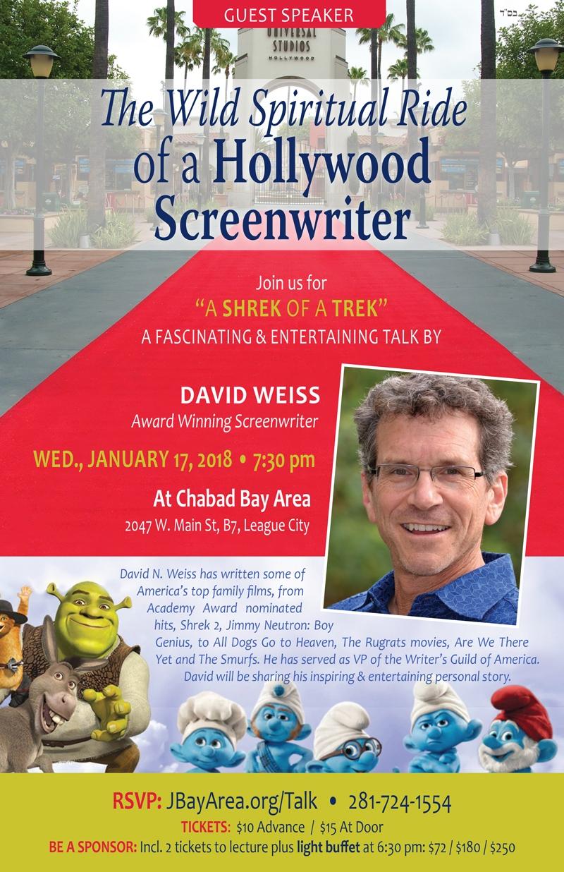 Guest Speaker David Weiss - Wed, Jan 17, 2018
