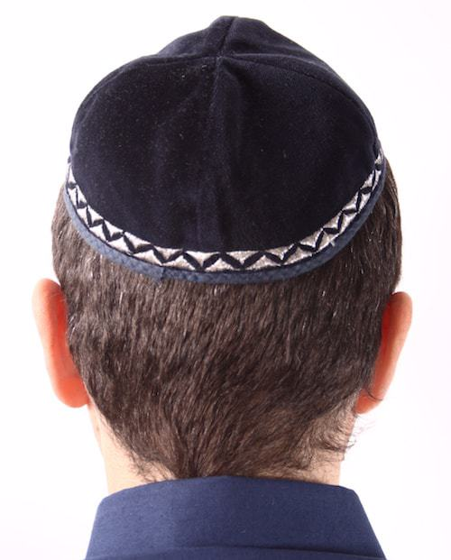 This decorated velvet kippah (yarmulke) is popular among contemporary Jewish boys.