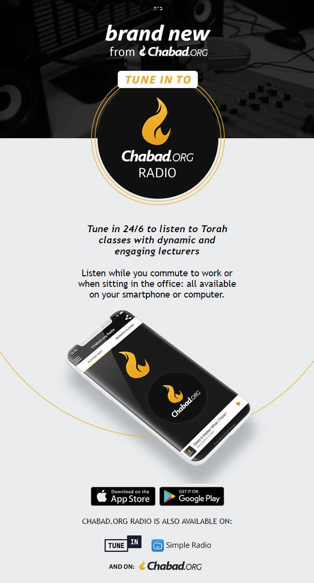 Chabad org Radio App - Tune in for 24/6 Torah Classes  The app features an  alarm clock, sleep timer and more
