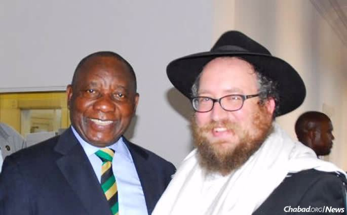 President Ramaphosa and Rabbi Deren at a ceremony two days before Ramaphosa was sworn in.