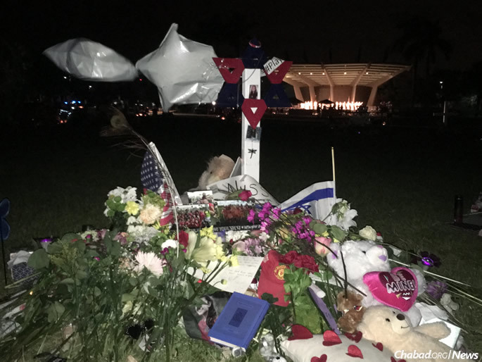 A makeshift memorial in Pine Trails Park near the Parkland Amphitheater, where a mass memorial was held.