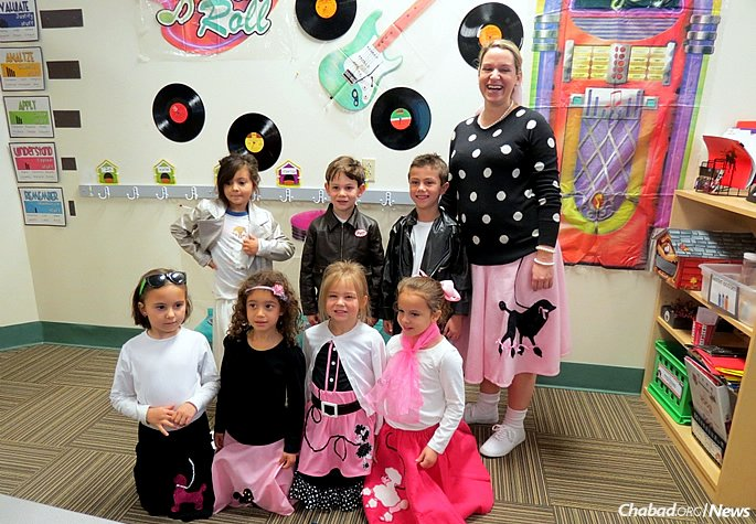 Kindergarteners and first-graders celebrate the 50th day of school with a 1950s' theme.