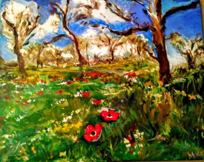 Spring Song: The fields bloom and burst with energy, grasses and flowers dancing in the breeze.