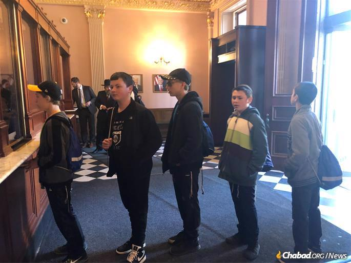 Waiting to enter the Treasury Building