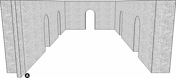 Fig. 61: A lechi whose projection is apparent to the people standing outside, but not to those standing inside. a) the lechi