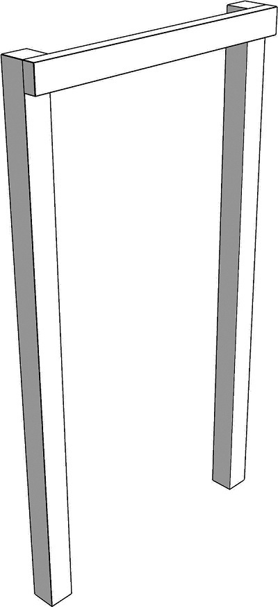 Fig. 56: An invalid tzuras hapesach; the lintel is attached to the side-posts from the side
