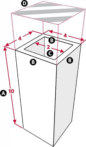 Fig. 19: A private domain above a space that is not a private domain. a) Walls that are 10 handbreadths high; b) A wall, a handbreadth wide; c) The space between the walls, 2 handbreadths wide; d) A board, 4 handbreadths by 4 handbreadths