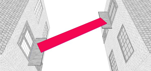 Fig. 90: A board connecting two balconies on opposite sides of the public domain that are not aligned directly facing each other