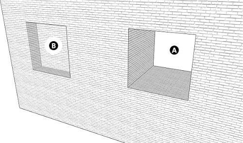 Fig. 20: Apertures in the wall of a private domain that are less than 10 handbreadths high. a) An aperture that opens to both the private and the public domain; b) An aperture facing the public domain
