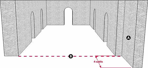 Fig. 63: A lechi that is invalid because of its length. a) A lechi 4 cubits wide; b) A line parallel to the inner edge of the lechi