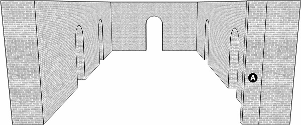 Fig. 60: A lechi whose projection is apparent to those standing in the lane, but is not apparent to those standing outside of it. a) the lechi