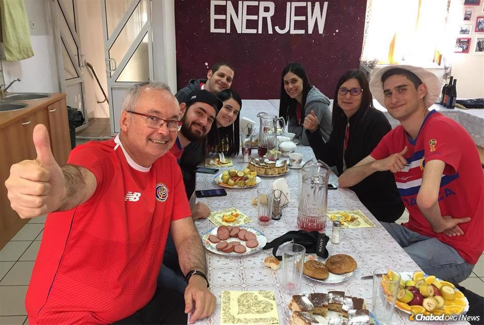 Soccer fans enjoy a kosher meal at the Chabad Jewish community center in Samara, Russia.