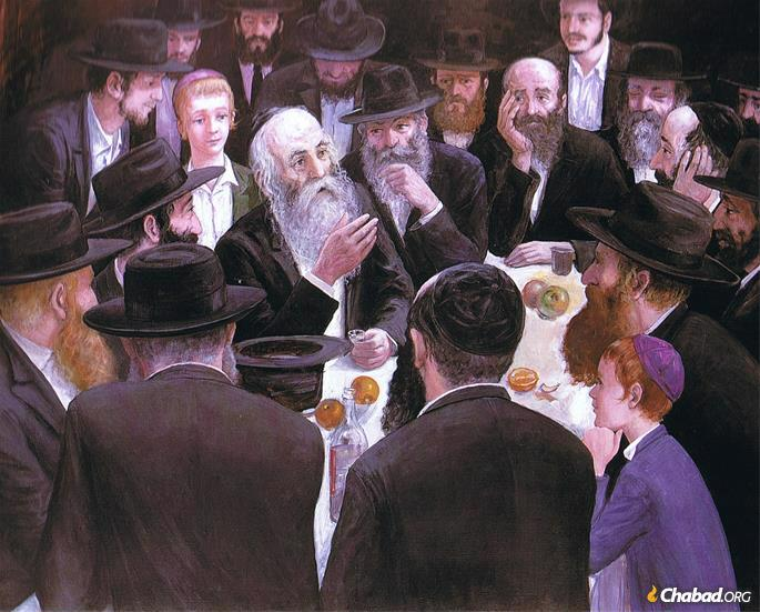 """In this painting Hasidic artist Zalman Kleinman shows the """"farbrengen,"""" a Hasidic gathering that features song, stories, Torah teachings and inspiration."""