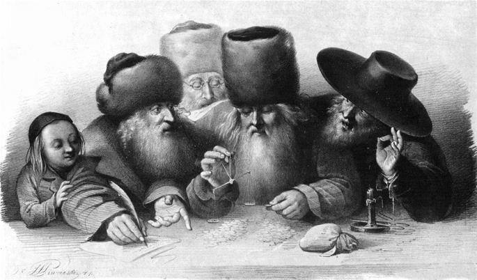 Jewish merchants in 19th century Warsaw.